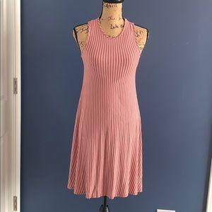 Pinc Rose & White Striped Swing Sleeveless Dress